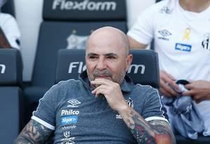 Jorge Sampaoli, do Santos, durante o jogo contra o Athletico Foto: WPP / Luis Moura/WPP