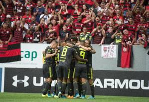 Flamengo já lidera as chances matemáticas de ser campeão do Campeonato Brasileiro Foto: Alexandre-Vidal/Flamengo