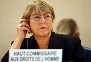 A Alta Comissária das Nações Unidas para os Direitos Humanos, Michelle Bachelet, em discurso em Genebra Foto: DENIS BALIBOUSE / REUTERS