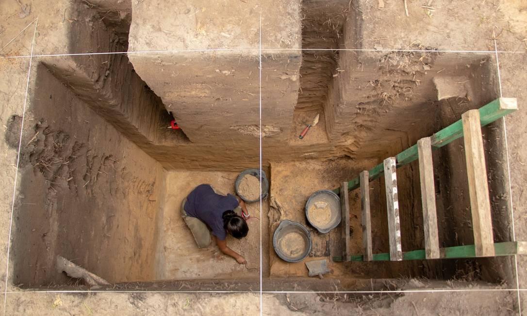 Unidade de escavação no complexo arqueológico Foto: Bernardo Oliveira /