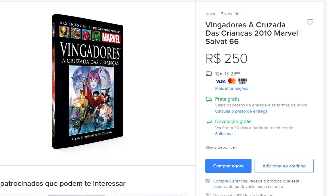 Livro censurado por Crivella é vendido por até R$ 250 na internet Foto: Reprodução