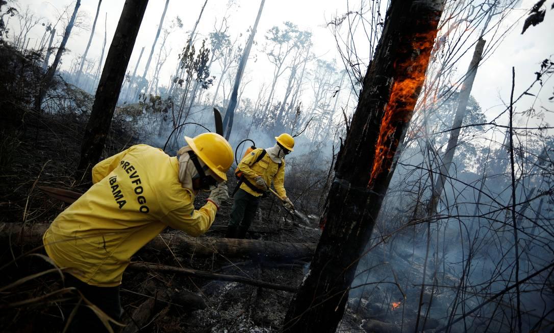 Brigadistas do Ibama combatem o fogo em Apui, no Amazonas Foto: BRUNO KELLY / REUTERS