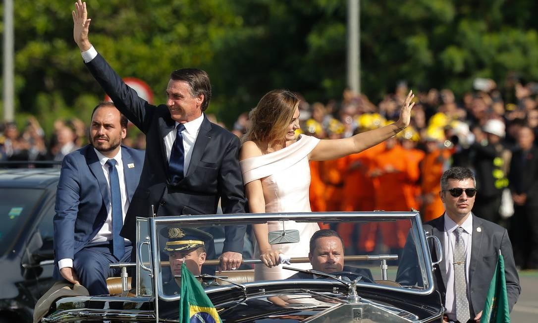 O vereador durante o desfile em carro aberto na posse do presidente Jair Bolsonaro - 01/01/2019 Foto: Pablo Jacob / Agência O Globo