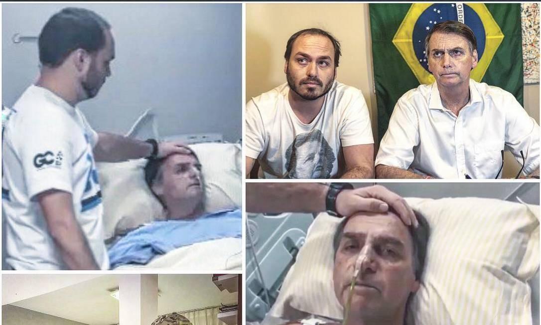 Carlos Bolsonaro com o pai em vários momentos Foto: Redes sociais/Instagram