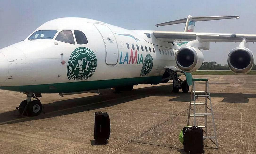 Avião da LaMia que transportou a equipe da Chapecoense, antes de decolar voo. Foto: LatinContent / LatinContent via Getty Images