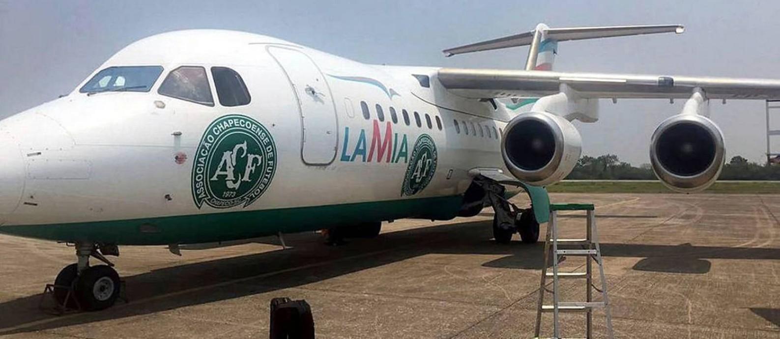 Avião da LaMia que transportou a equipe da Chapecoense, antes de decolar Foto: LatinContent / LatinContent via Getty Images