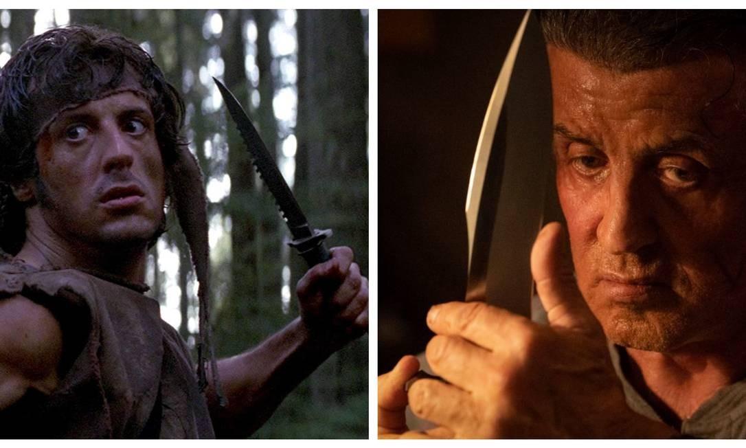 Pensou em Rambo, pensou numa faca poderosa. Mas aquele modelo clássico com serrilha do primeiro filme, de 1982, desenvolvida a pedido de Stallone pelo fabricante Jimmy Lile, mudou de aparência. Dá uma olhada Foto: Divulgação / Divulgação