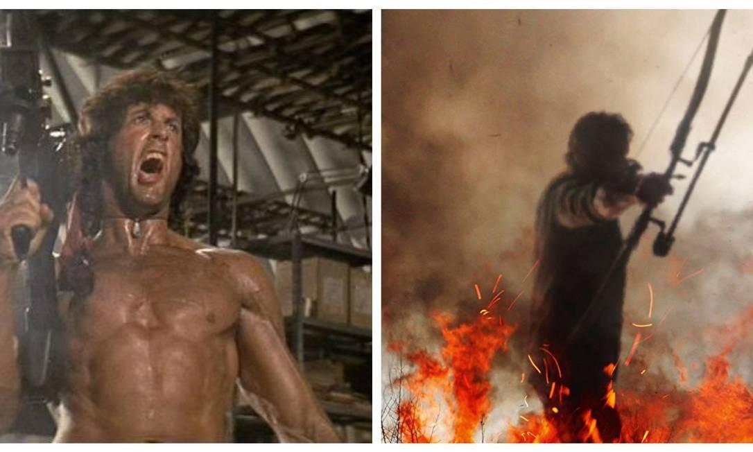 """De metralhadora (como nesta foto de """"Rambo II: a missão"""") a arco e flecha (na foto, neste quinto filme), Rambo usou e segue usando todo tipo de arma Foto: Divulgação"""
