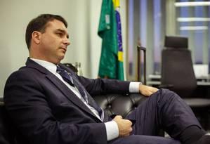 O senador Flávio Bolsonaro (PSL-RJ), presidente estadual do PSL Foto: Daniel Marenco / Agência O Globo