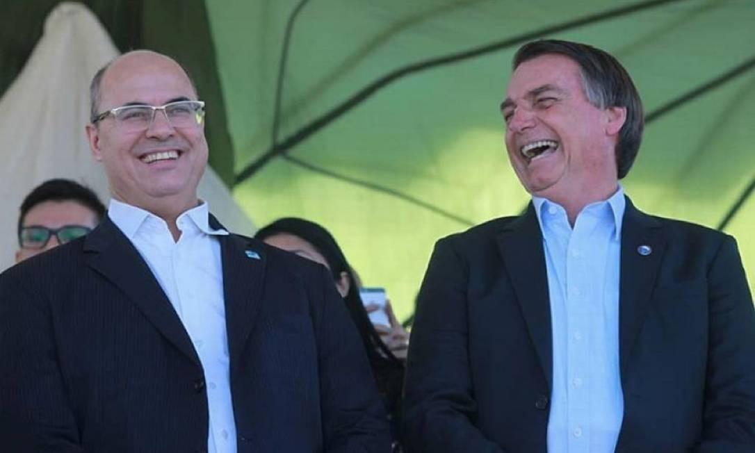 Wilson Witzel e Jair Bolsonaro: União ainda não informou se aceitará divisão meio a meio Foto: Divulgação