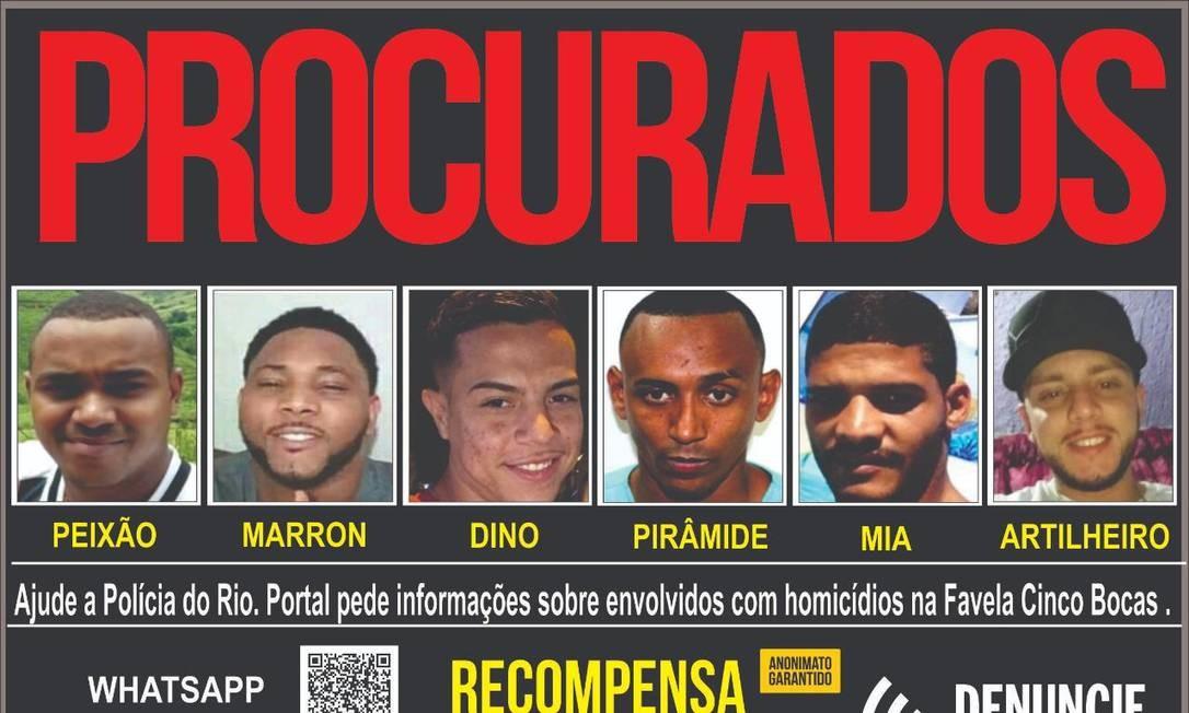 Polícia procura por seis traficantes das comunidades Cidade Alta, Parada de Lucas e Vigário Geral Foto: Divulgação