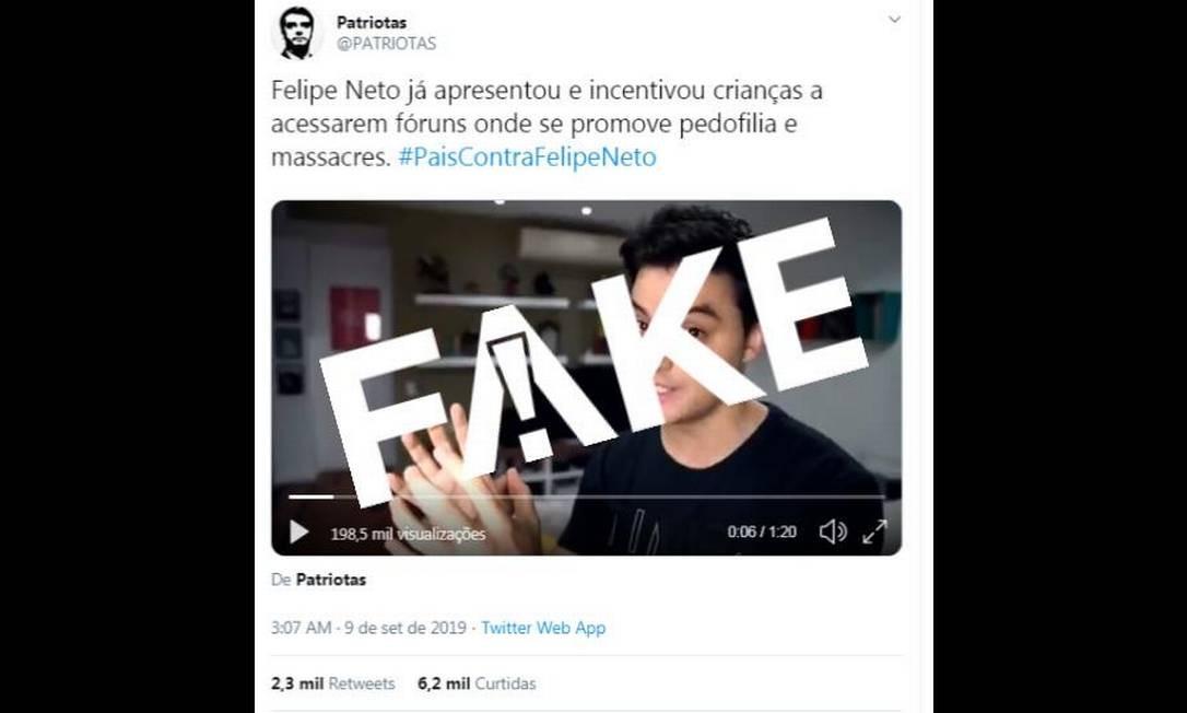 É #FAKE que Felipe Neto incentivou crianças a acessarem fóruns que promovem pedofilia Foto: Reprodução