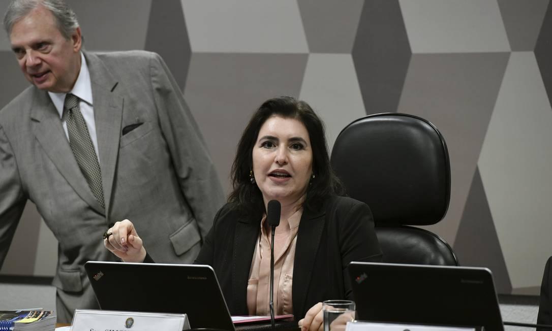 A presidente da Comissão de Constituição e Justiça (CCJ) , senadora Simone Tebet (MDB-MS). Foto: Edilson Rodrigues / Edilson Rodrigues/Agência Senad