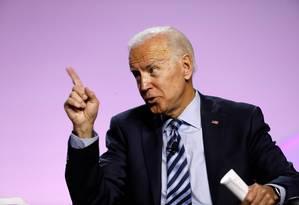 Ex-vice-presidente Joe Biden, durante evento de campanha em julho Foto: JEFF KOWALSKY / AFP / 24-07-2019