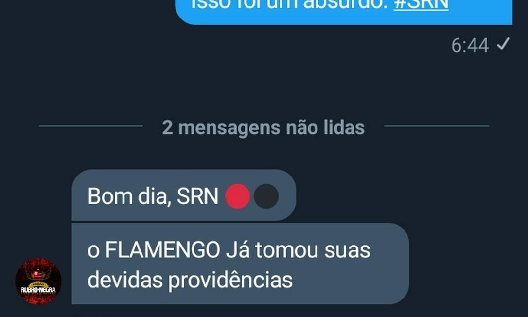 Mensagem trocada entre torcedor e o perfil do programa de sócios do Flamengo Foto: Reprodução