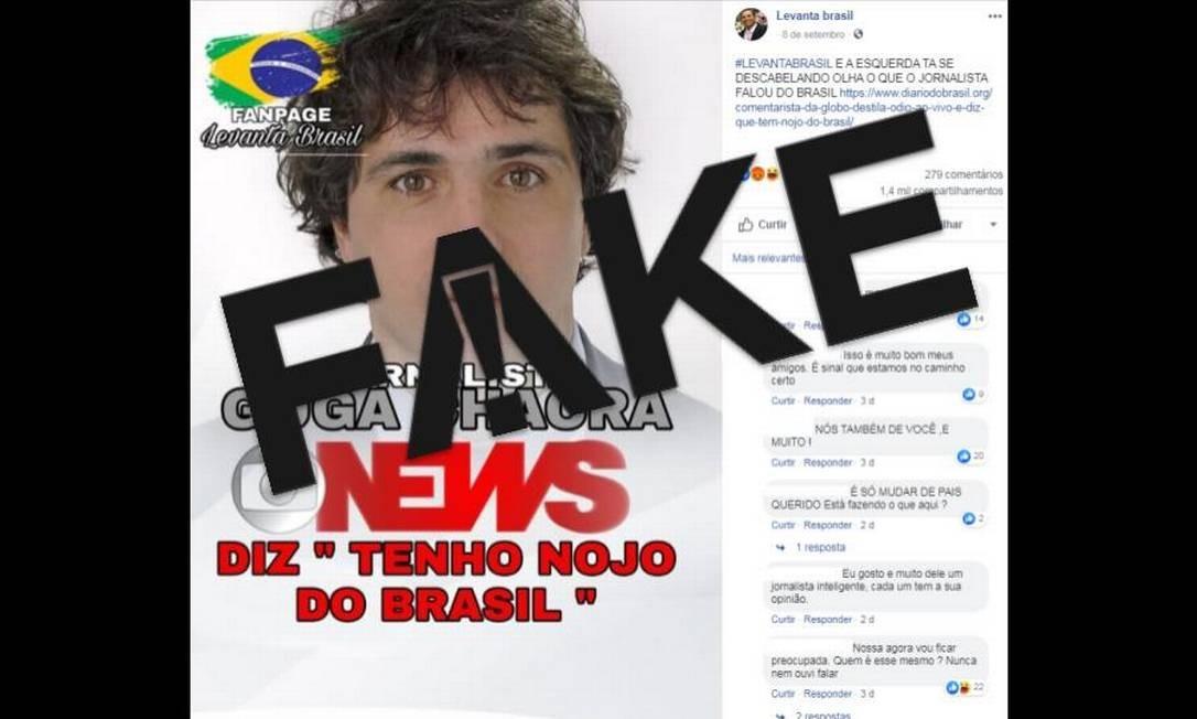 É #FAKE que Guga Chacra disse ter nojo do Brasil Foto: Reprodução