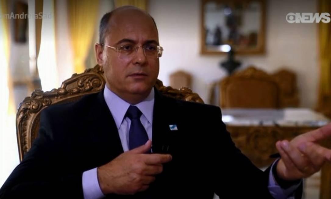 Entrevista de Witzel foi exibida na noite desta quarta-feira pelo canal GloboNews Foto: GloboNews / Reprodução