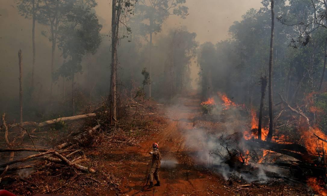 Incêndio na cidade União do Sul, em Mato Grosso. Junto com o Mato Grosso do Sul, é o estado brasileiro onde se situa o Pantanal Foto: Amanda Perobelli / Reuters