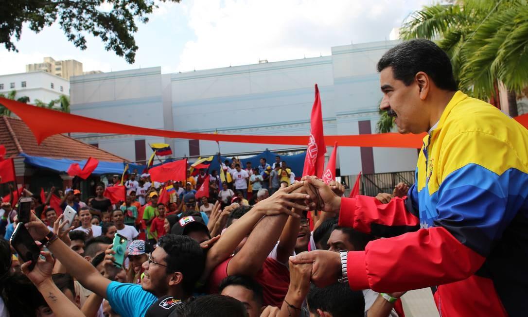 O presidente da Venezuela, Nicolás Maduro, durante comício em Caracas Foto: / Palácio de Miraflores/REUTERS