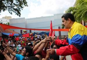 O presidente da Venezuela, Nicolás Maduro, durante comício em Caracas Foto: Palácio de Miraflores/REUTERS