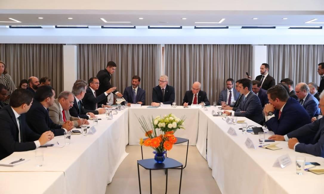 Reunião entre governadores da Amazônia e embaixadores europeus, na embaixada da Noruega Foto: Diego Peres/Governo do Amazonas