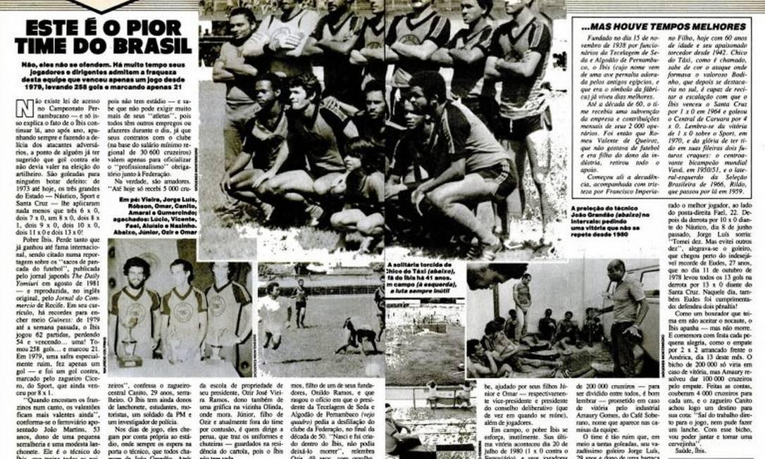 O clube pernambucano Íbis Sport Club é conhecido por ser o pior time de futebol do mundo Foto: Reprodução/Revista Placar