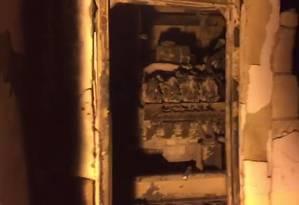 Gerador no subsolo do Hospital Badim, atingido por incêndio Foto: Reprodução / TV Globo