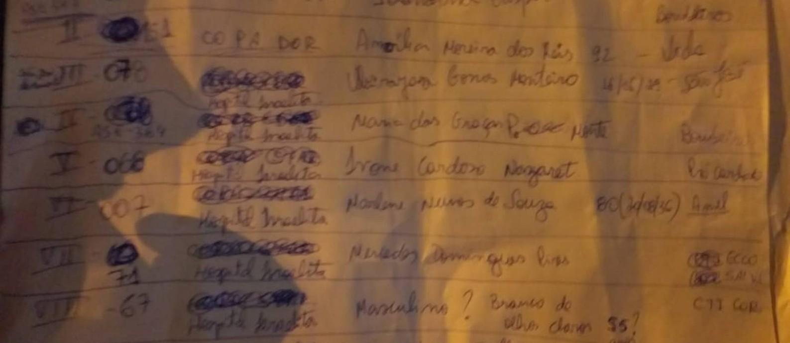 Lista se mostrou decisiva para que familiares localizassem pacientes após a tragédia Foto: Glauber José de Oliveira Amancio / Reprodução