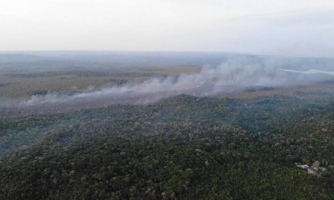 Imagens aéreas de uma das áreas afetadas pelas chamas em Alter do Chão, no Pará Foto: Brigada de Alter do Chão