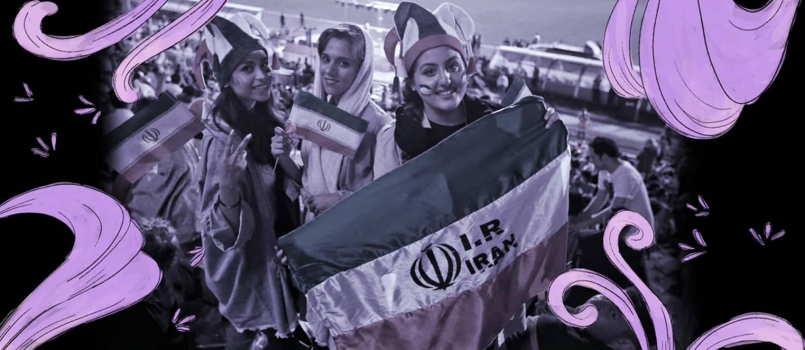 Torcedoras assistem, em telões, partida entre Irã e Portugal pela Copa do Mundo de 2018. Foi a primeira vez em que mulheres iranianas pisaram no estádio Azadi desde 1981 Foto: ATTA KENARE / AFP