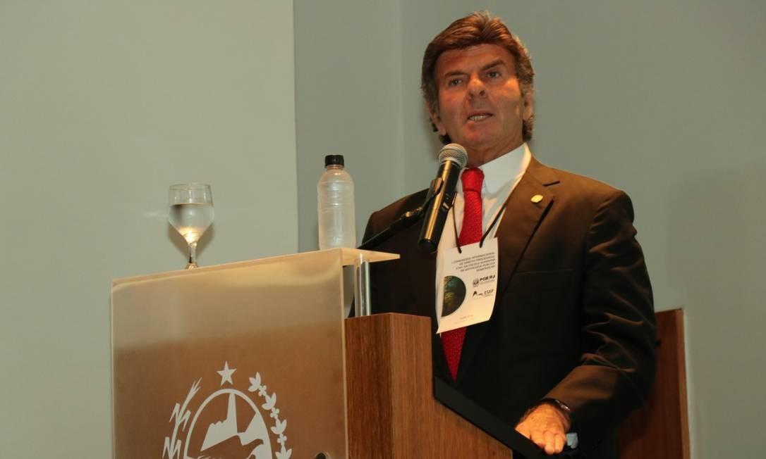 O ministro Luiz Fux fala durante evento na Procuradoria-Geral do Estado, no Rio Foto: Ahlefeld Gomes/PGE-RJ