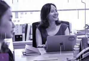 Depois de mais de uma década trabalhando em Wall Street, Jihae Jenna Lee voltou para Seul e abriu a consultoria financeira AIM, da qual é CEO Foto: JEAN CHUNG / NYT