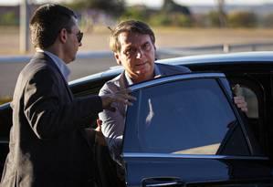 O presidente Jair Bolsonaro retornou a Brasília após se submeter a mais uma cirurgia Foto: Daniel Marenco / Agência O Globo