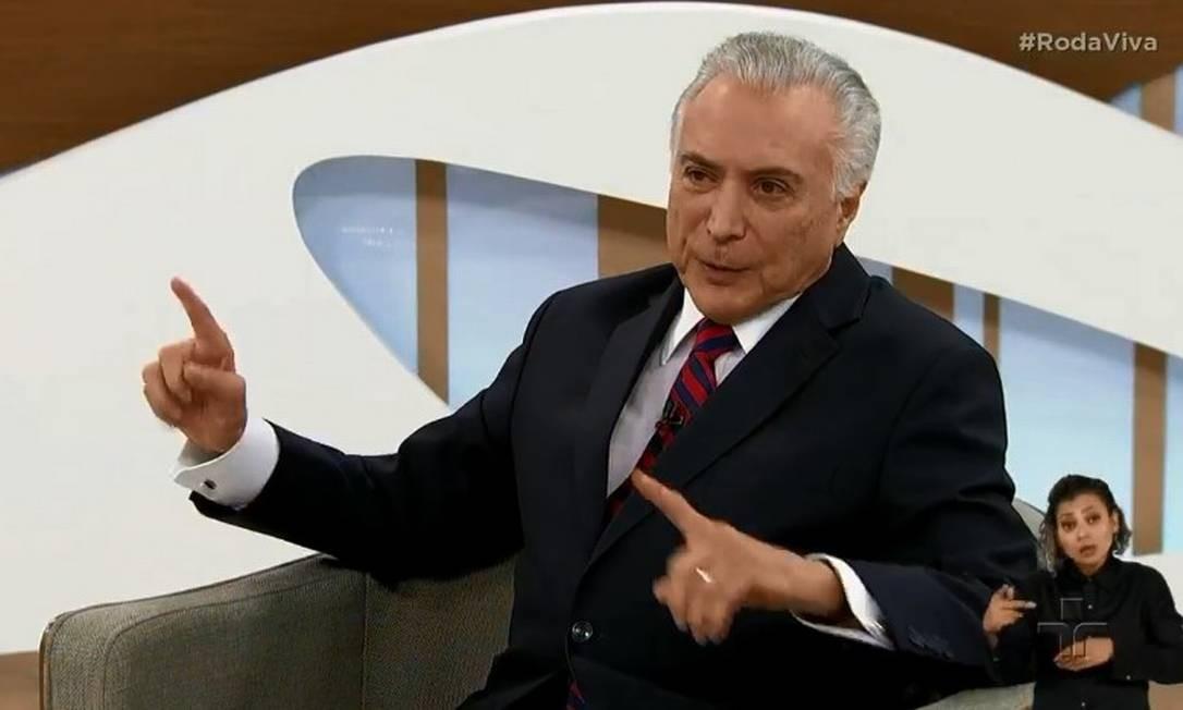 Ex-presidente em entrevista ao programa Roda Viva, da TV Cultura Foto: Reprodução TV Cultura