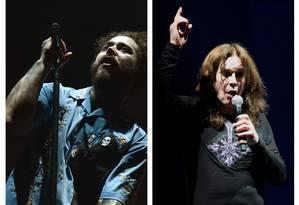 O rapper Post malone e o cantor Ozzy Osbourne Foto: Arte em fotos de divulgação