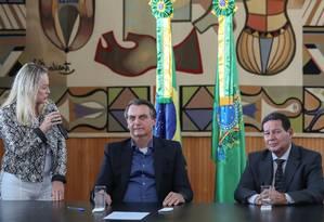 Jair Bolsonaro participou, nesta terça, da solenidade de sanção de lei que altera o estatuto do desarmamento. Foto: Marcos Corrêa/PR / Agência O Globo