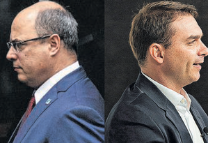 """Governador Wilson Witzel (esq.): """"Valorizo quem tem lado""""; senador Flávio Bolsonaro (dir), que ordenou o """"desembarque"""" Foto: Daniel Marenco e Leo Martins / Agência O GLOBO"""