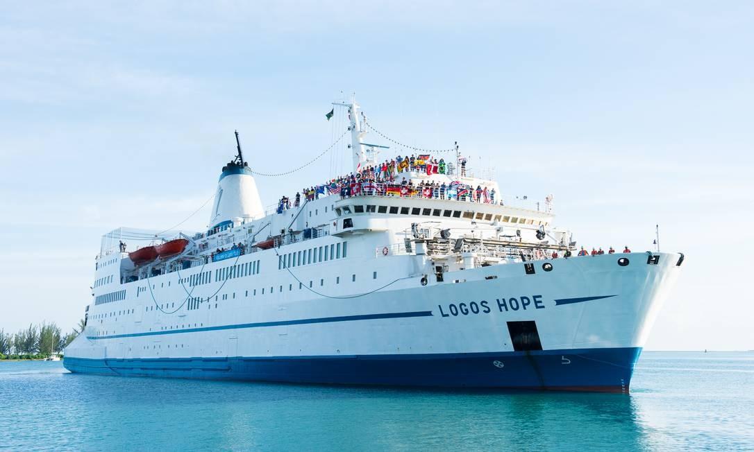 Logos Hope: navio de de 12 toneladas, tem 21 metros de largura e 132 metros de comprimento Foto: LJ LEE / Divulgação/GBA