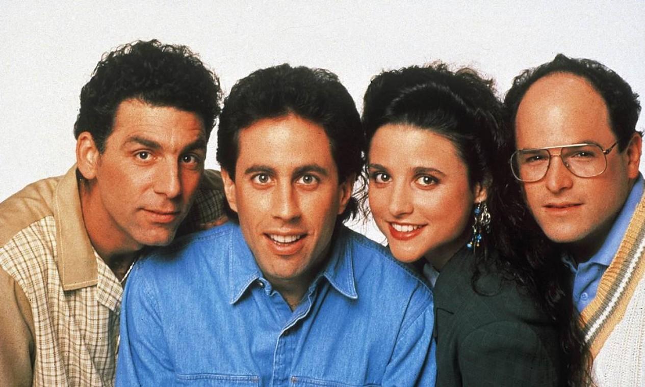 """'Seinfeld': série """"sobre o nada"""" criada pelos geniais Larry David e Jerry Seinfeld, mostra o bem-humorado dia a dia de um grupo de amigos nova-iorquinos Foto: Divulgação"""