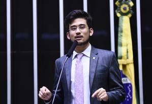 O deputado federal Kim Kataguiri (DEM-SP) no plenário da Câmara dos Deputados Foto: Agência O Globo