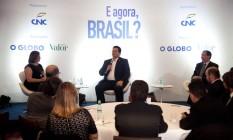Davi Alcolumbre, presidente do Senado Federal, no evento 'E agora, Brasil?' Foto: Adriana Lorete / Agência O Globo