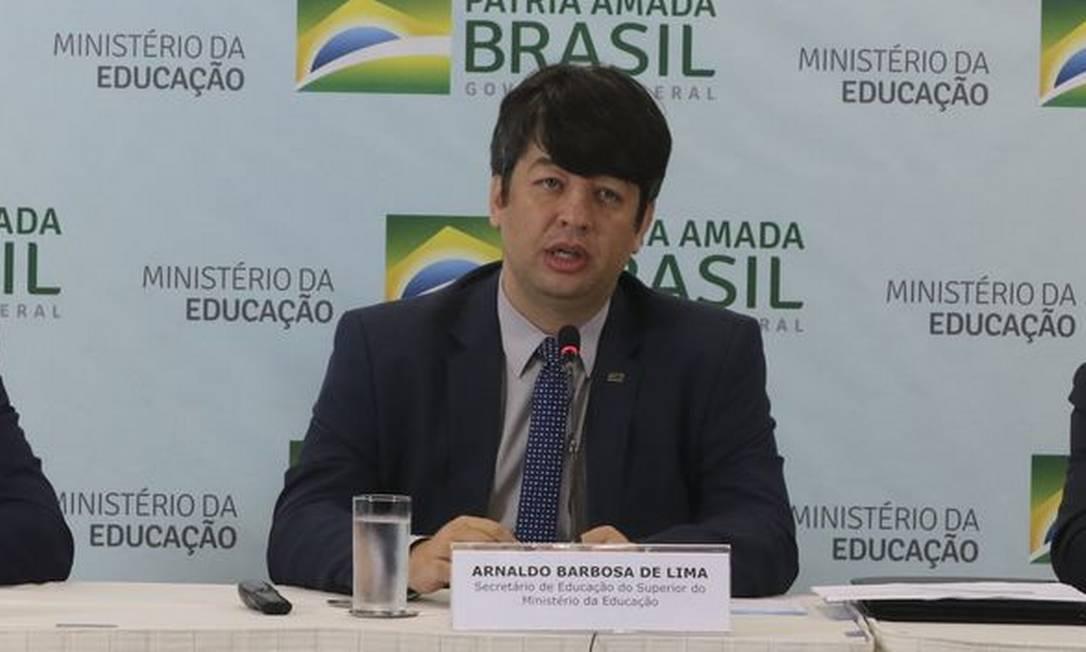 O secretário de Ensino Superior do MEC, Arnaldo Barbosa de Lima Junior Foto: Agência Brasil