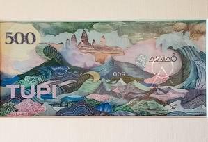 'Tupi', cédula com valor de R$ 500, criada por Rodrigo Torres para a associação Alalaô Foto: Divulgação