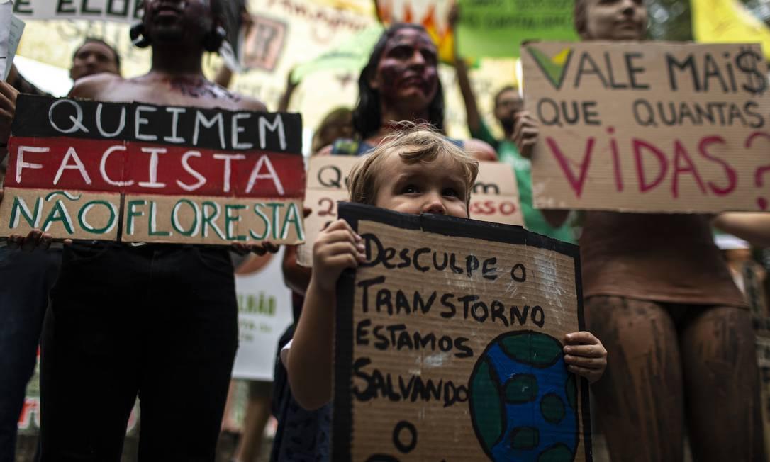criança carrega placa durante manifestação contra às mudanças ambientais no Rio de Janeiro Foto: Hermes de Paula / Agência O Globo