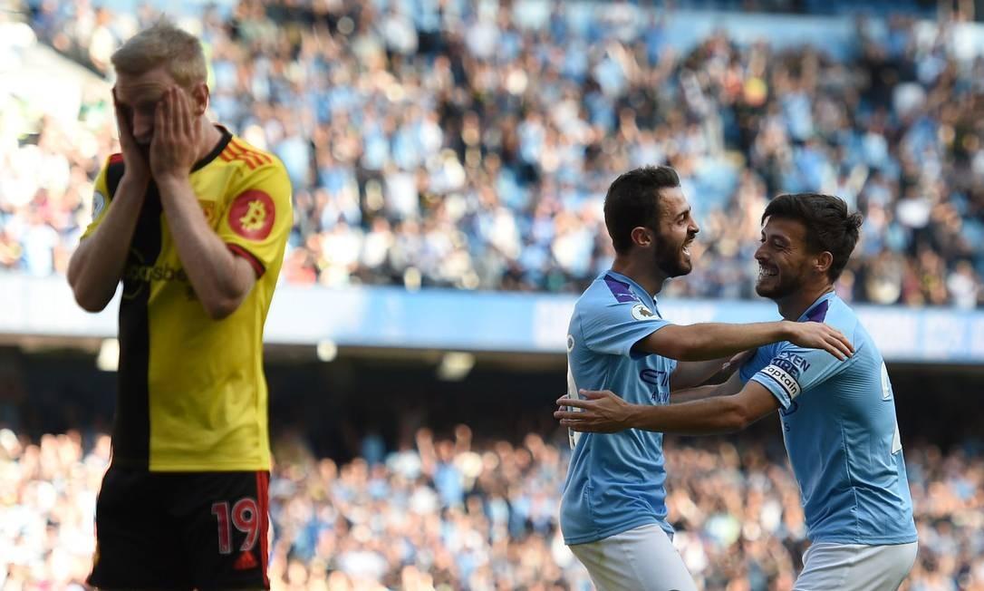Manchester City de Bernardo Silva e David Silva humilhou o Watford no Eithad Foto: OLI SCARFF / AFP