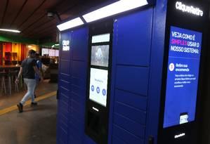 """Um dos """"lockers"""" que serão instalados nas estações do metrô no Rio. O serviço estará disponível em 38 estações, cada uma com cerca de 80 armários Foto: Pedro Teixeira / Agência O Globo"""