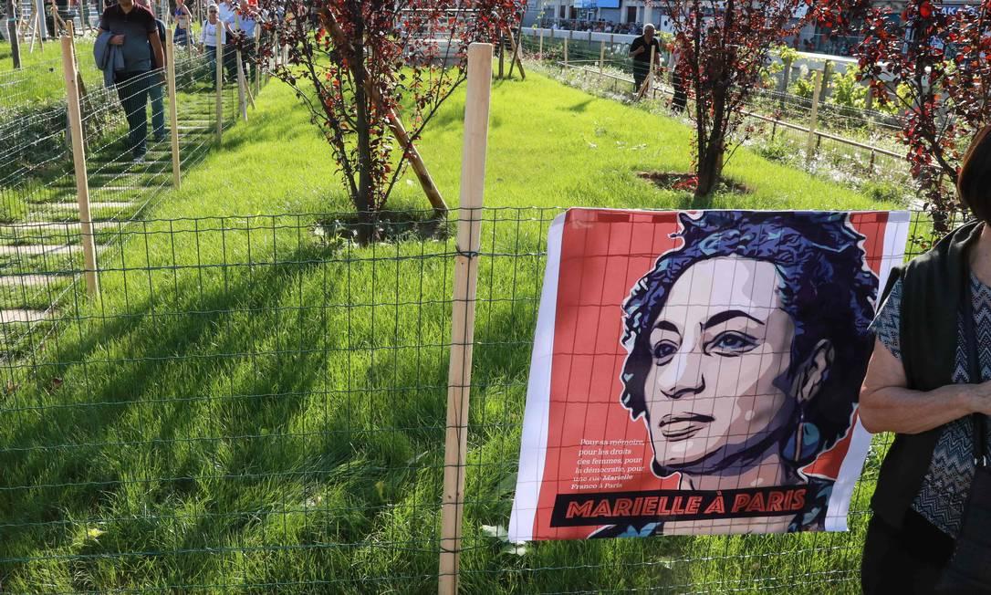 Jardim leva o nome da vereadora assassinada no ano passado Foto: JACQUES DEMARTHON / AFP