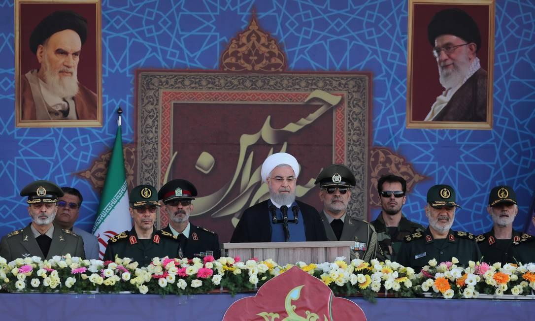 Presidente do Irã discursa em evento militar Foto: Divulgalção
