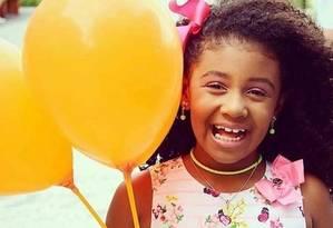 A menina Agatha, de 8 anos, não resistiu aos ferimentos e morreu Foto: Reprodução