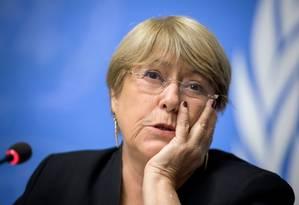 A Alta Comissária dos Direitos Humanos da ONU, Michelle Bachelet, em 4 de setembro de 2019 em Genebra Foto: AFP/Arquivos / Fabrice Coffrini